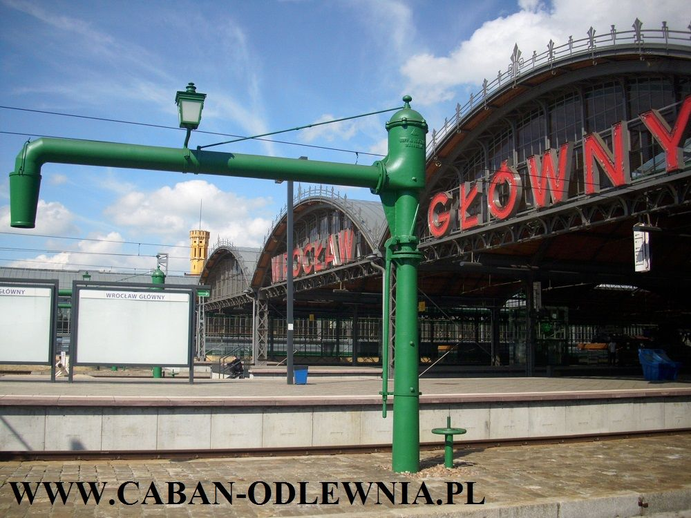 Historic cast-iron pumps for pouring water to steam engine locomotives at the Main Railway Station in Wrocław 2014 year