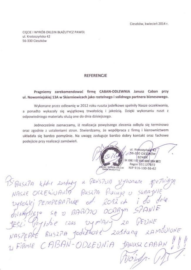 Reference from Cięcie i wyrób oklein Błażutycz Paweł