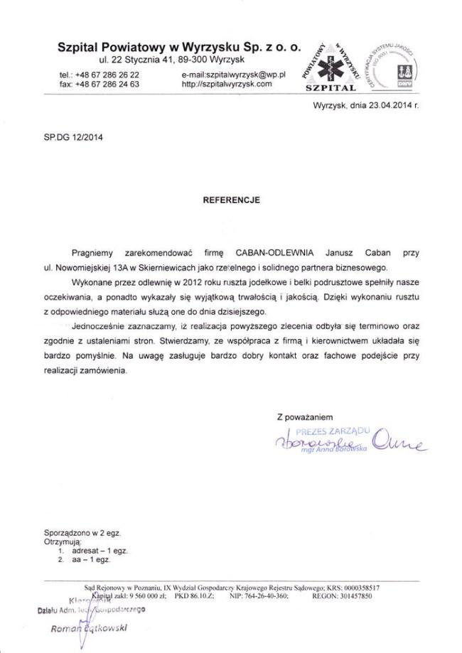 Reference from Szpital Powiatowy w Wyrzysku Sp. z o.o.
